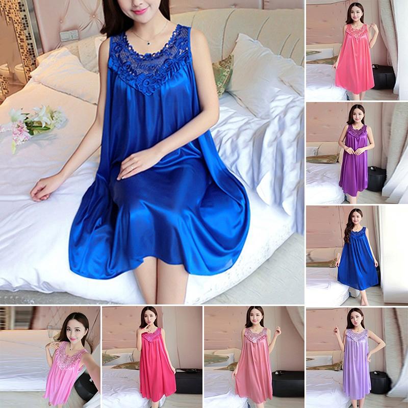Summer Women Ladies Sexy Lace Long Dress Sleepwear Robes Nightgown Nightwear
