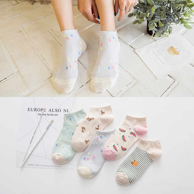 Cute Solid Colors Cartoon Cotton Fruit Casual Short Ankle Sock
