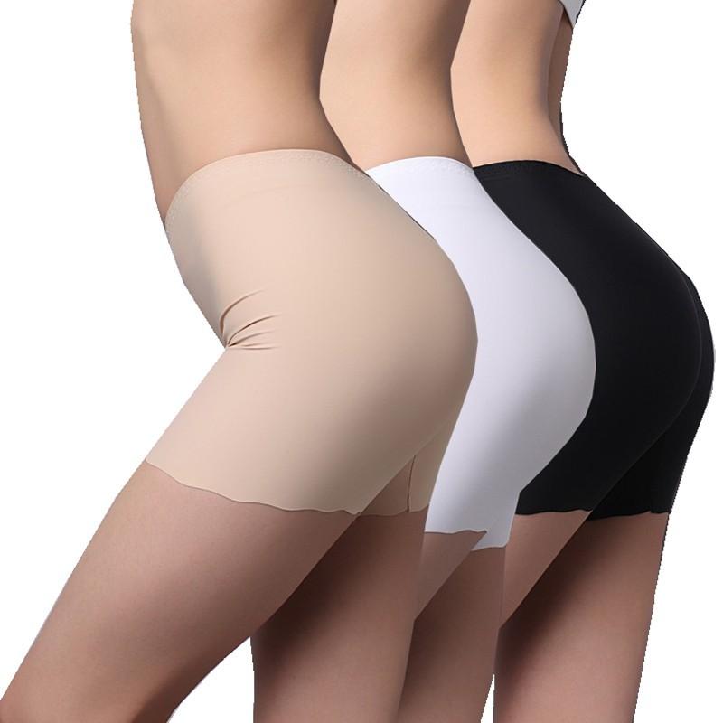 Women Seamless Ice Silk Panties High Waist Stretch Solid Safety Underwear