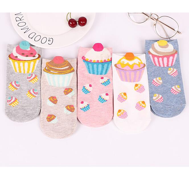 Women's Cup Cake Pattern Cotton Socks, Assorted Colors