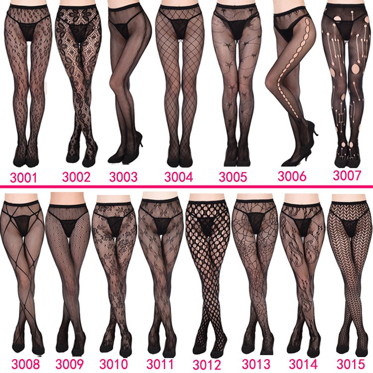Fishnet Lace Stocking Tights for Women Crotch Pantyhose with Flower