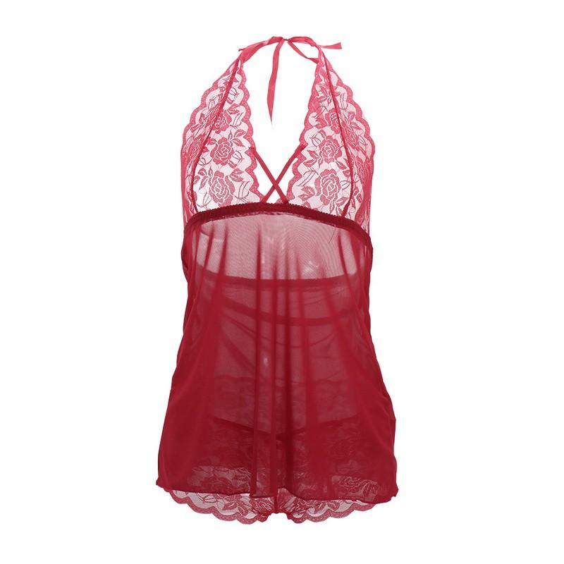 Women's Sexy Sheer Deep V-Neck Halter Babydoll Sleepwear Nightwear
