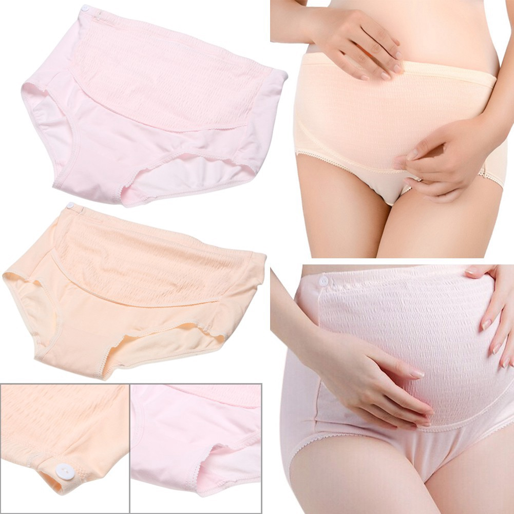 (Onsale) Soft Cotton Pregnant Women Underwear Adjustable Belly Support Panties