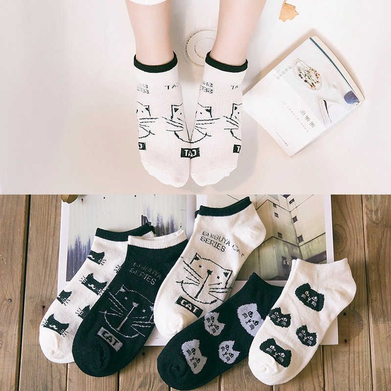 Women's Cotton Cats Pattern Anti Slip Ankle Socks, Assorted Colors