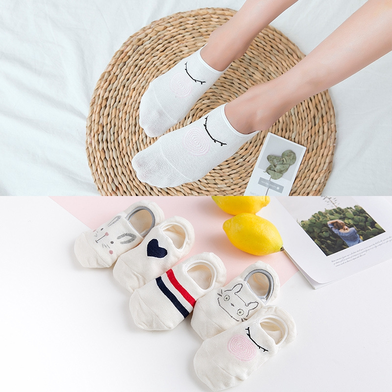 Anti Slip  Women Ankle Socks Cartoon Cute Floor Cotton Sock