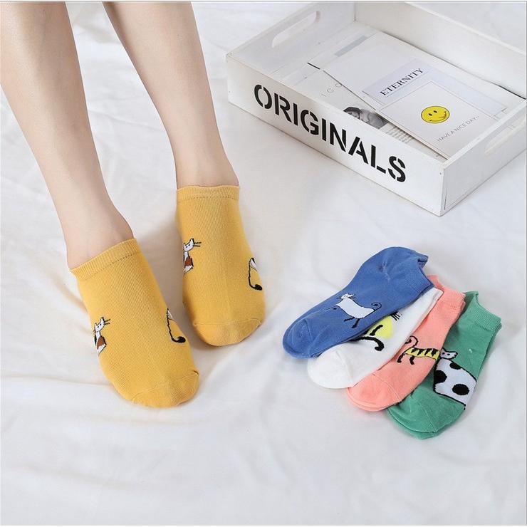 Women Cotton Socks Pink Cute Cat Ankle Socks